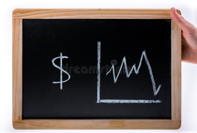 Main tenant le diagramme américain de valeur des dollars sur un tableau noir sur le fond blanc photos stock