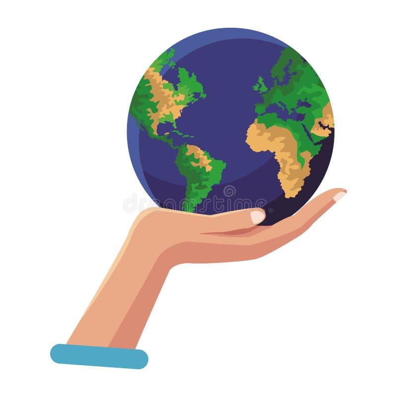 Main tenant le monde de la terre illustration de vecteur