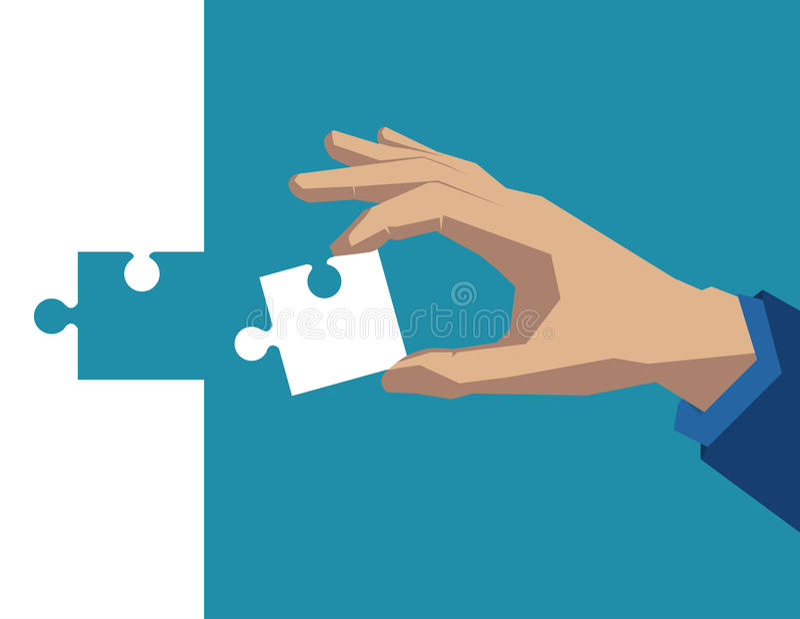 Main tenant le morceau de blanc de puzzle Illustratio d'affaires de concept images stock
