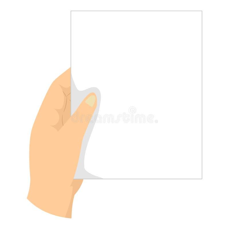 Main tenant le papier blanc sous la forme de portrait illustration stock