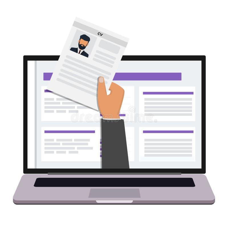 Main tenant le papier de cv Agence du travail Concept de gestion d'heure, recherchant le personnel professionnel, le travail à di illustration stock