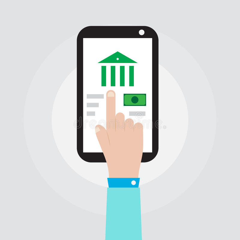 Main tenant le smartphone avec la conception de vecteur d'icône de banque illustration de vecteur