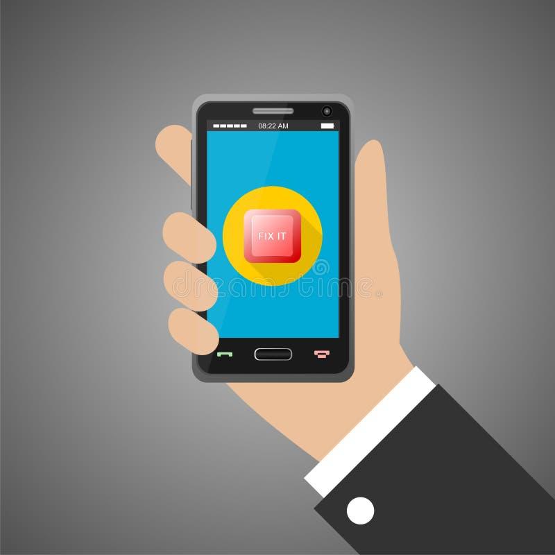 Main tenant le smartphone avec la difficulté il bouton illustration libre de droits