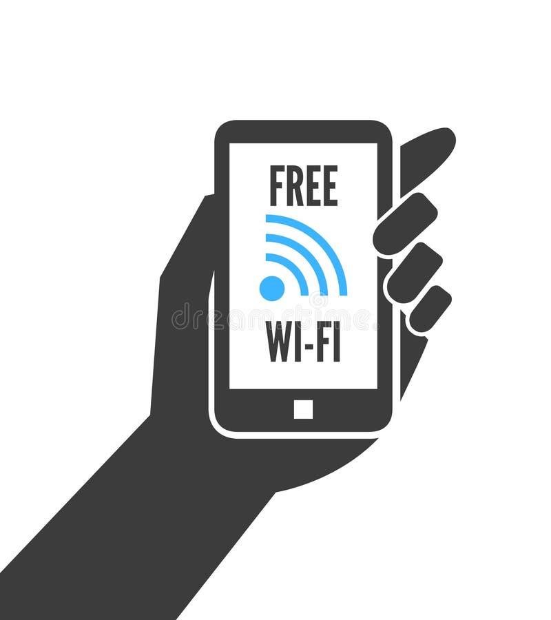 Main tenant le smartphone avec le wifi gratuit illustration stock