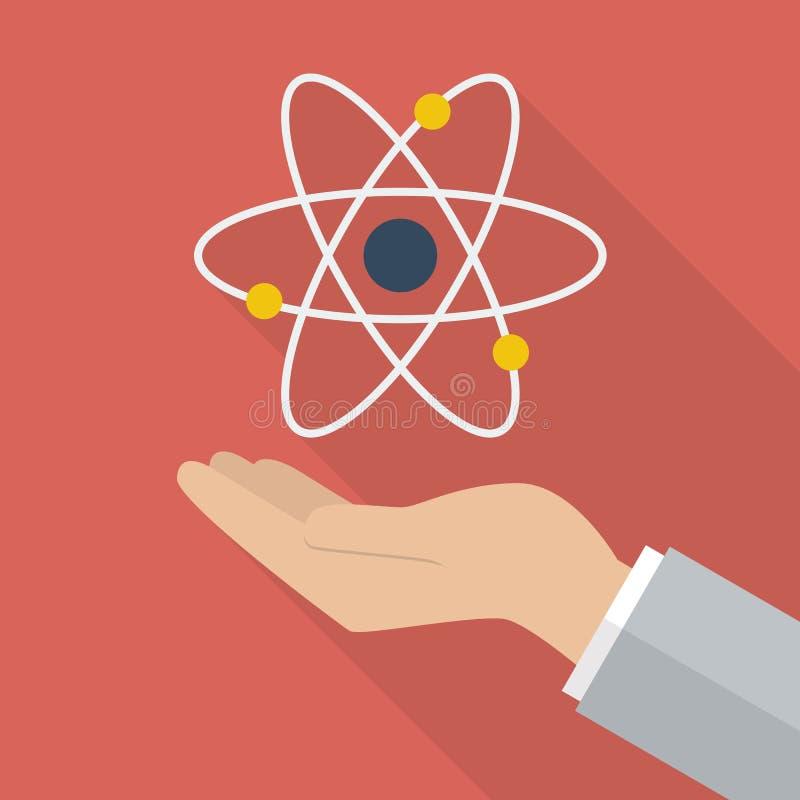 Main tenant le symbole d'atome illustration stock