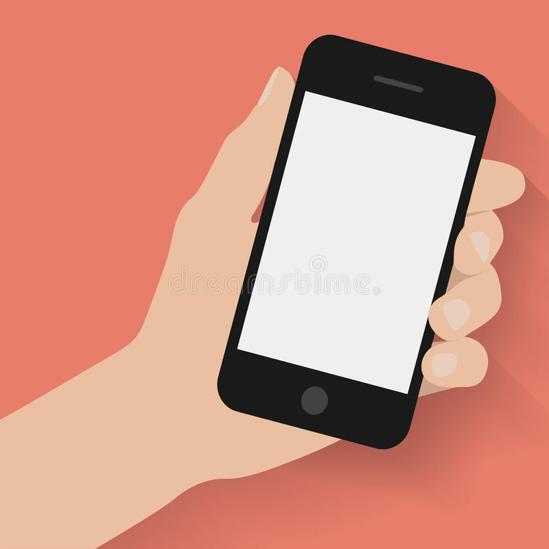 Main tenant le téléphone intelligent sur le fond rouge illustration de vecteur