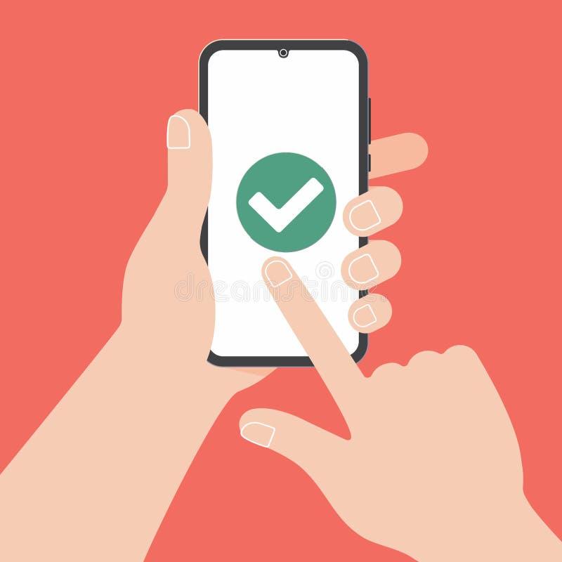 Main tenant le téléphone portable noir avec l'OK de coutil de coche sur l'écran d'isolement sur le fond rouge illustration libre de droits