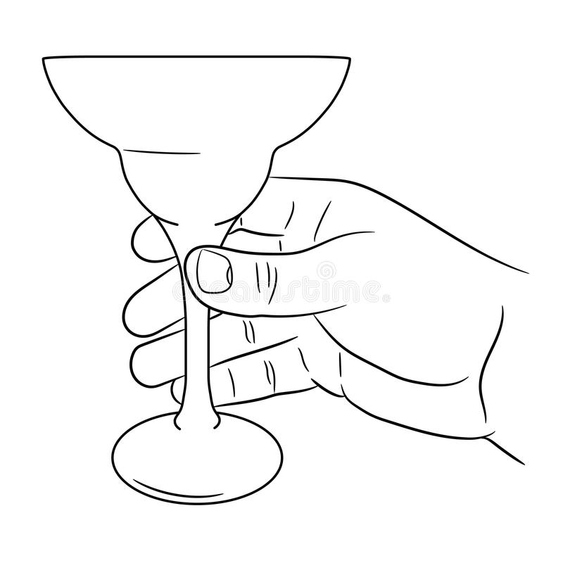 Download Main Tenant Le Verre De Cocktail De L'illustration Illustration Stock - Illustration du retrait, bulle: 87708605
