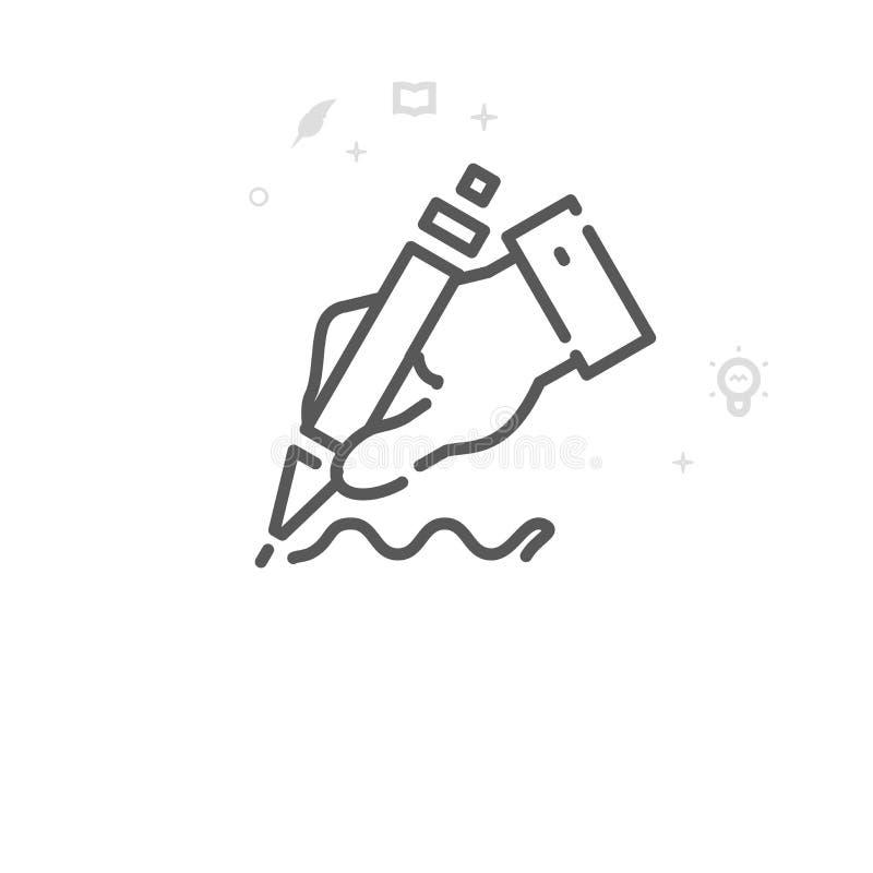 Main tenant a Pen Vector Line Icon, symbole, pictogramme, signe Fond géométrique abstrait clair Course Editable illustration stock