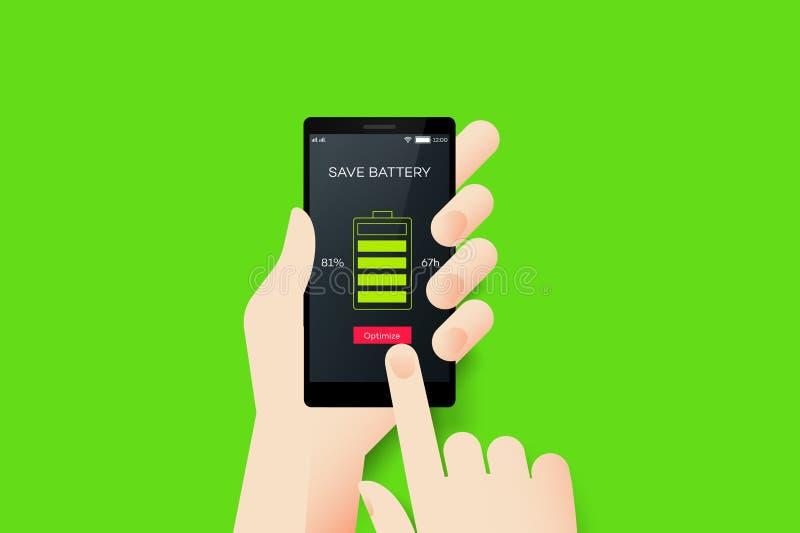Main tenant Smartphone avec l'application conceptuelle de mobile de batterie d'économies illustration de vecteur
