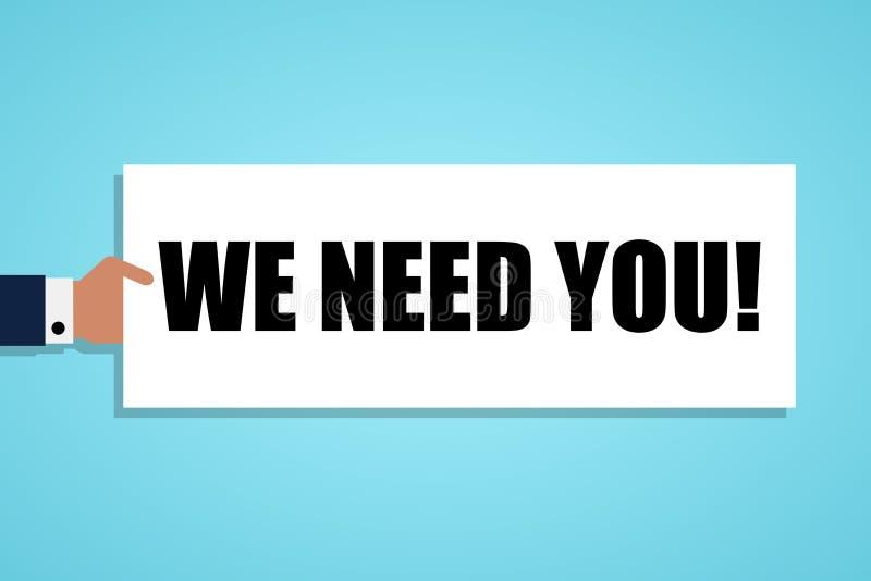 Main tenant un morceau de papier avec le texte nous avons besoin de vous Illustration de vecteur illustration stock