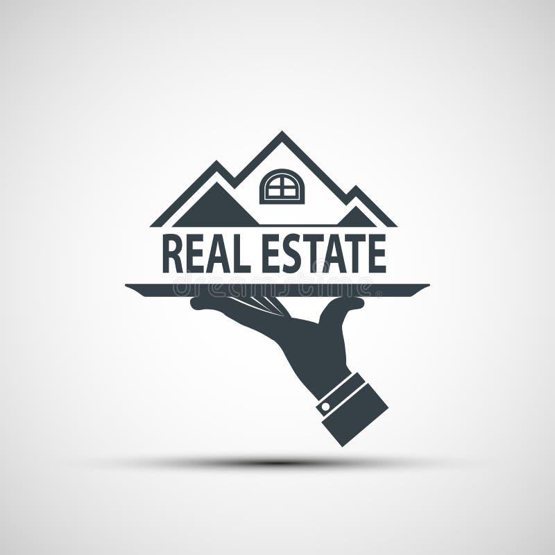 Main tenant un plateau avec une maison illustration stock
