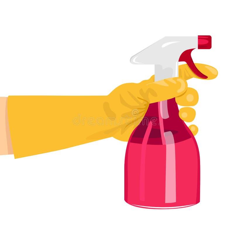 Main tenant une bouteille rose de jet illustration de vecteur