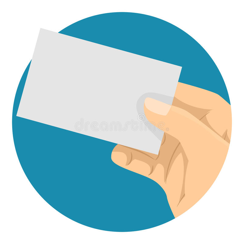 Main tenant une carte de visite professionnelle vierge de visite à l'arrière-plan bleu illustration libre de droits