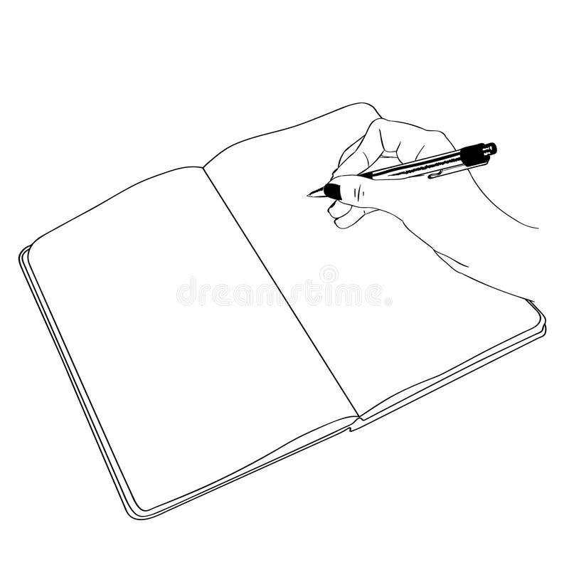 Main tenant une illustration de stylo par des crafteroks illustration stock