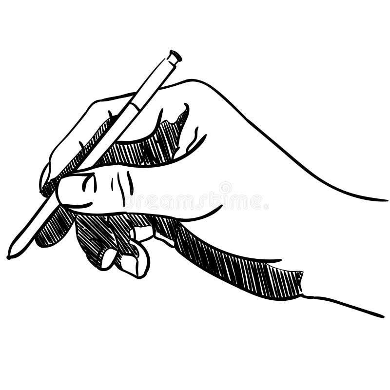 Main tenant une illustration de stylo par des crafteroks illustration de vecteur