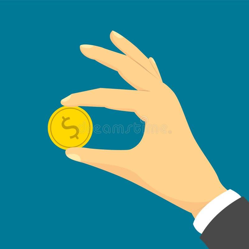 Main tenant une pièce de monnaie d'or avec le symbole dollar illustration stock