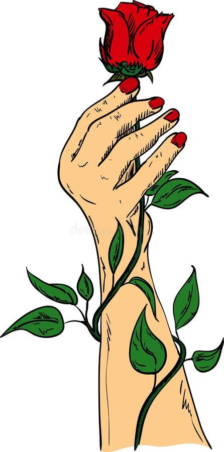Main tenant une rose rouge illustration libre de droits