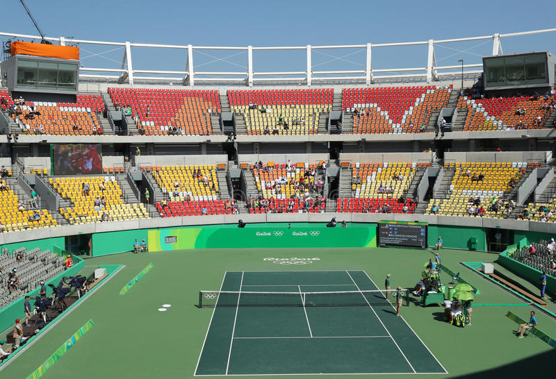 Main tennis venue Maria Esther Bueno Court of the Rio 2016 Olympic Games during women's doubles fina stock image