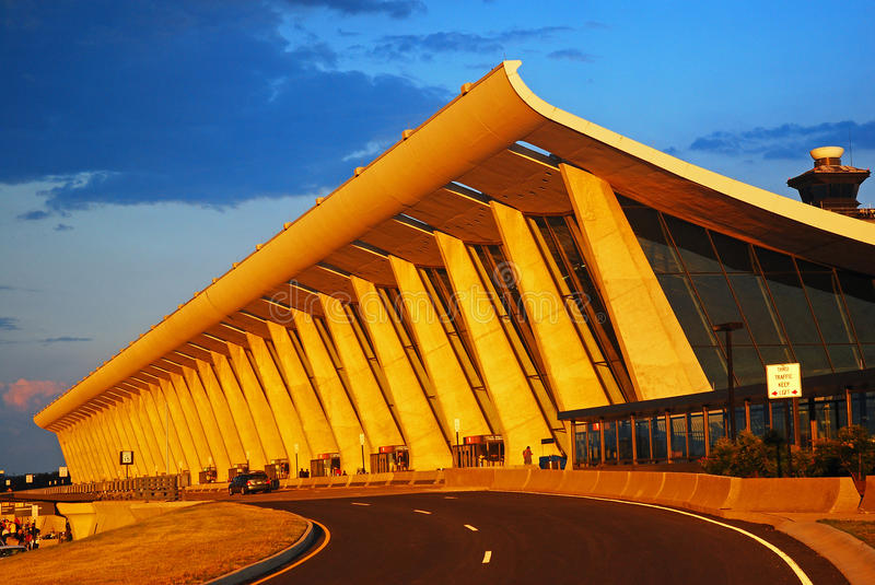 Main Terminal of Dulles Airport. The Main Terminal at Dulles International Airport was designed by Eero Saarinen stock photo