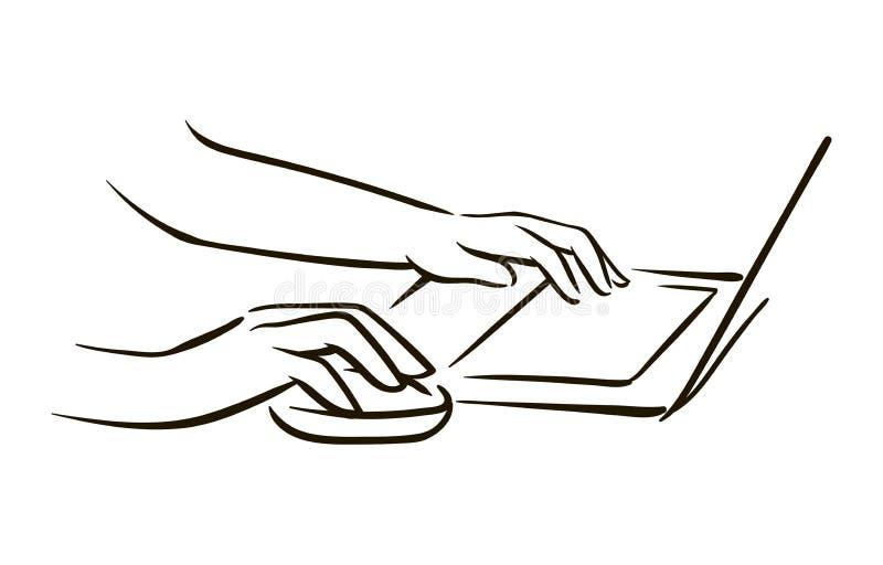 Main tirée par la main de vecteur avec l'illustration de croquis de souris d'ordinateur sur le fond blanc illustration de vecteur
