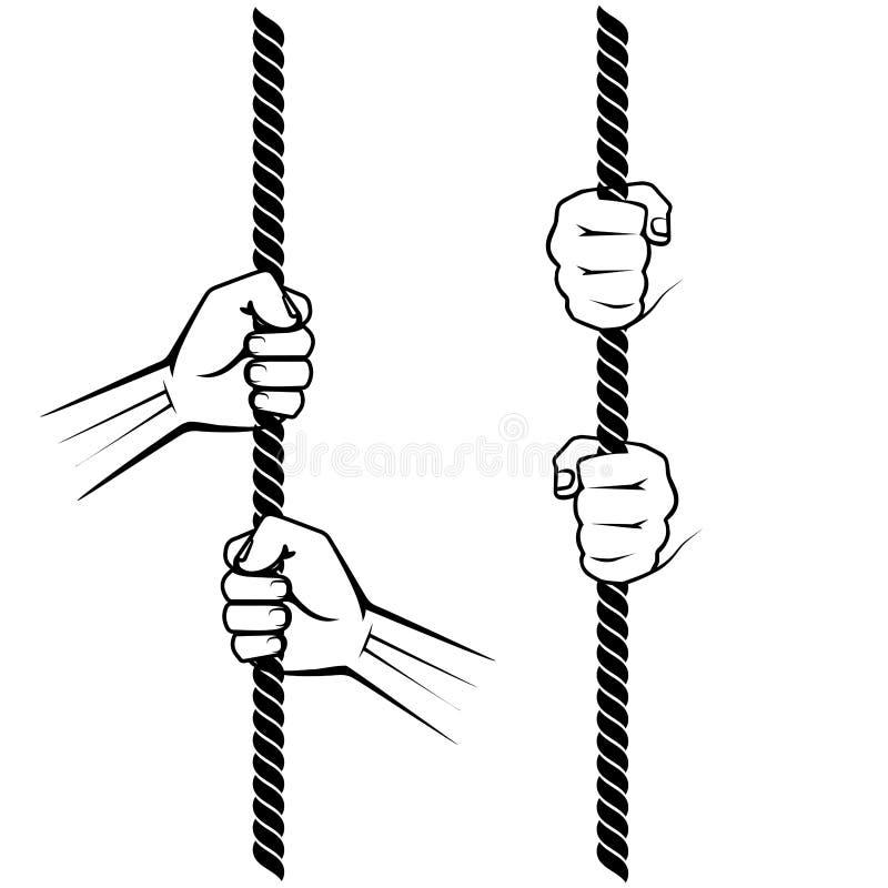 Main tirant une corde illustration de vecteur