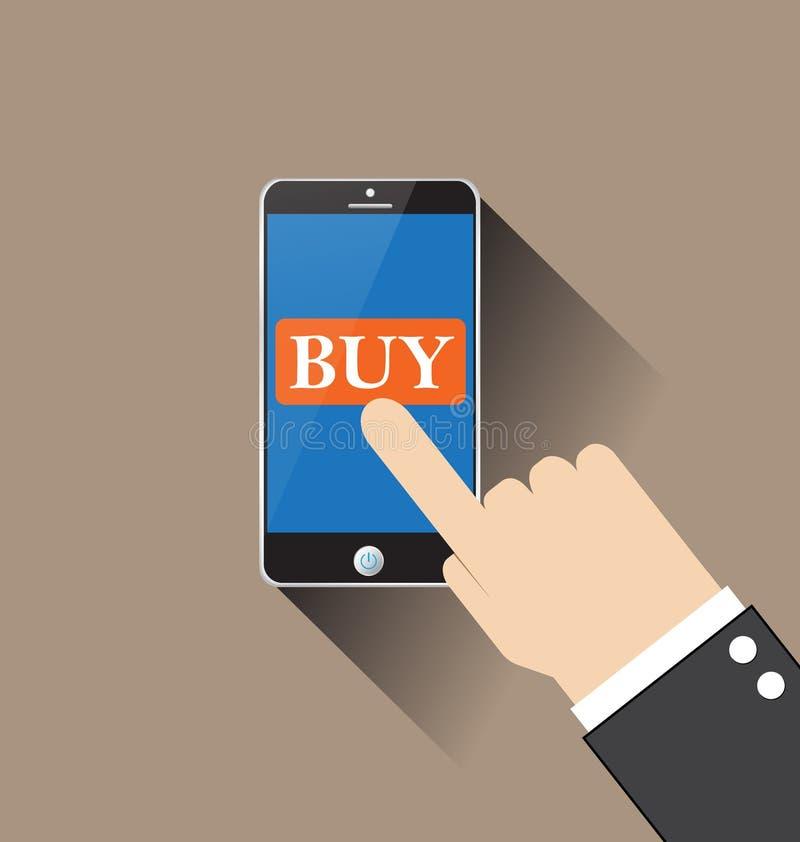 Main touchant le téléphone intelligent avec le vecteur de bouton d'achat illustration de vecteur
