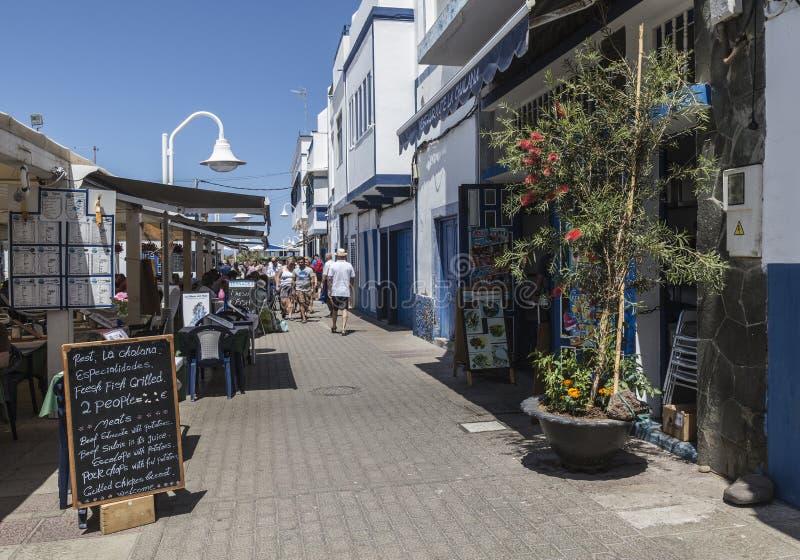 Main tourist avenue at Puerto de las Nieves, on Gran Canaria. royalty free stock photos