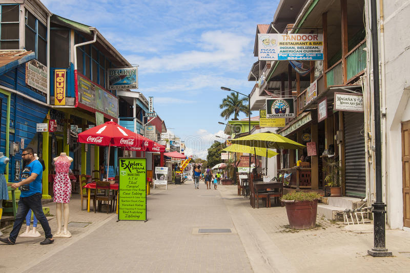 Main tourist streen in San Ignacio, Belize. San Ignacio, Belize, March 1 2017: Main tourist street Burn`s Avenue with restaurants, souvenir shops and tours in stock photo
