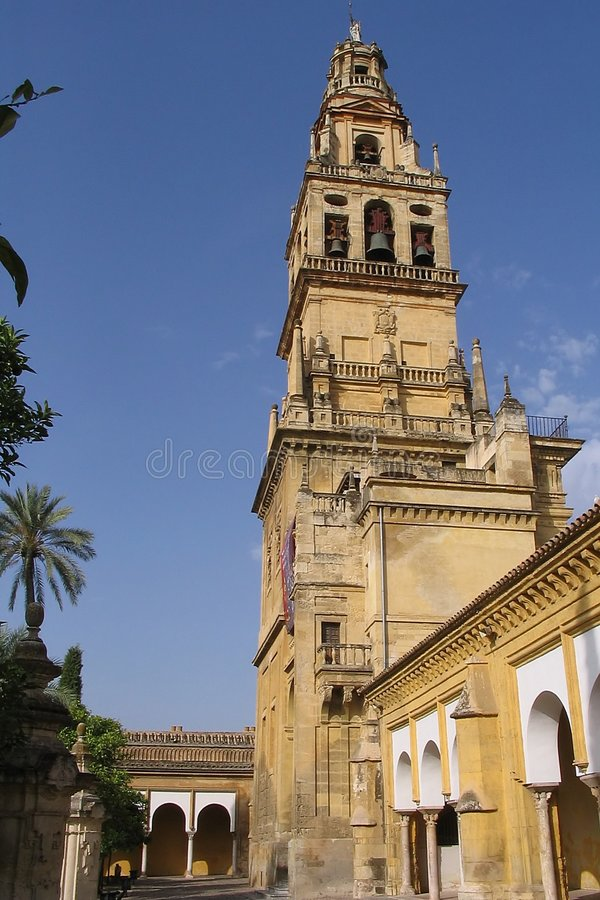Main Tower of Cordoba Mosque Spain royalty free stock photos