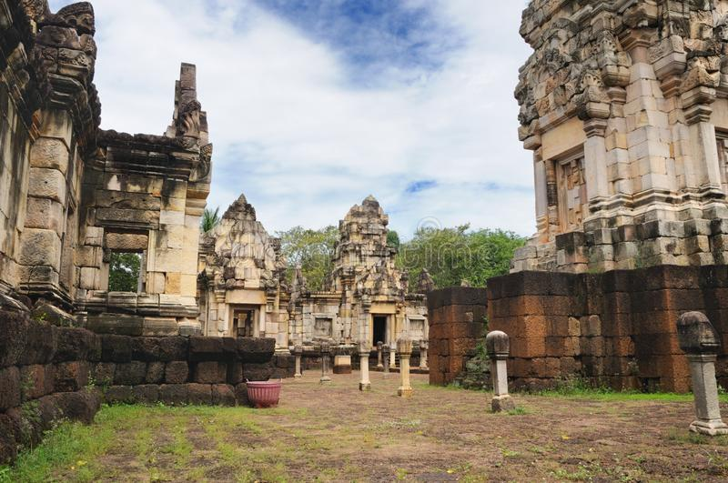 Main tower, courtyard and libraries of ancient Khmer temple built of red sandstone and laterite and dedicated to the Hindu god Shi. Main tower, courtyard and royalty free stock photos