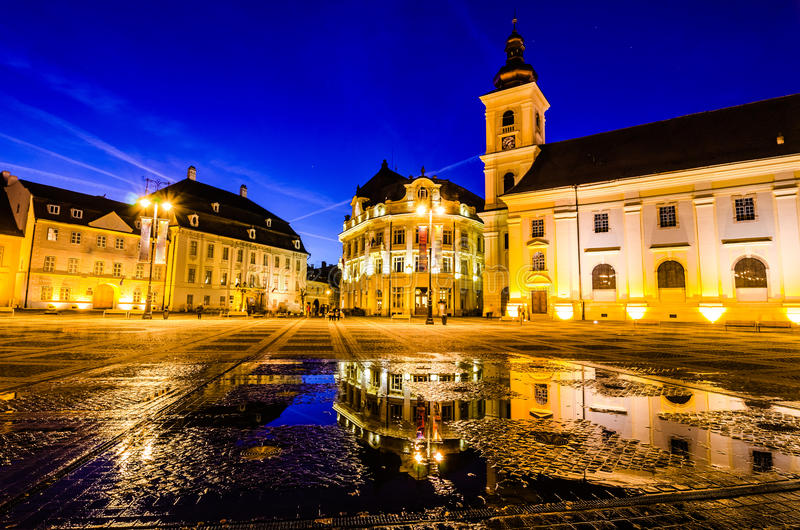 Main town square at blue hour, Sibiu, Romania stock images