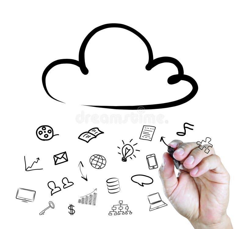 Main traçant un diagramme de calcul de nuage image stock