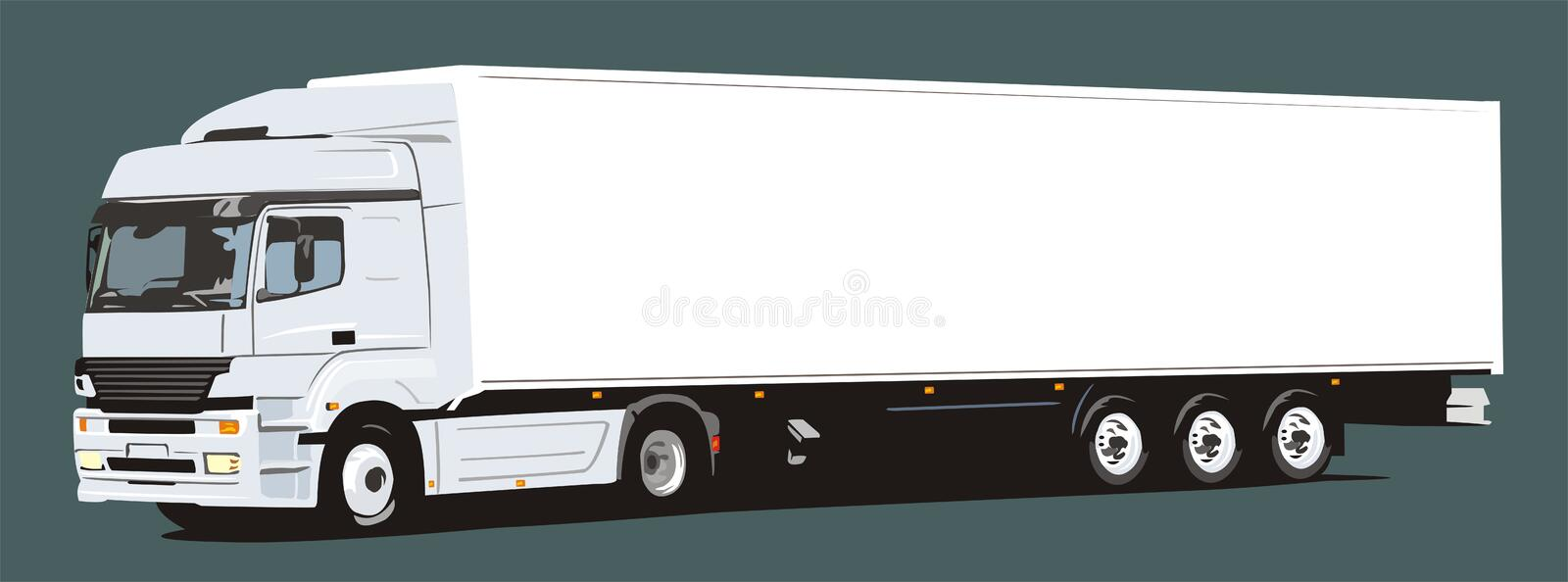 Main trailer. Main heavy truck with trailor on dark-green background vector illustration