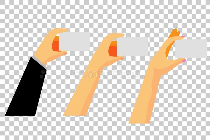 Main trois tenant la carte vierge, au fond transparent d'effet illustration stock