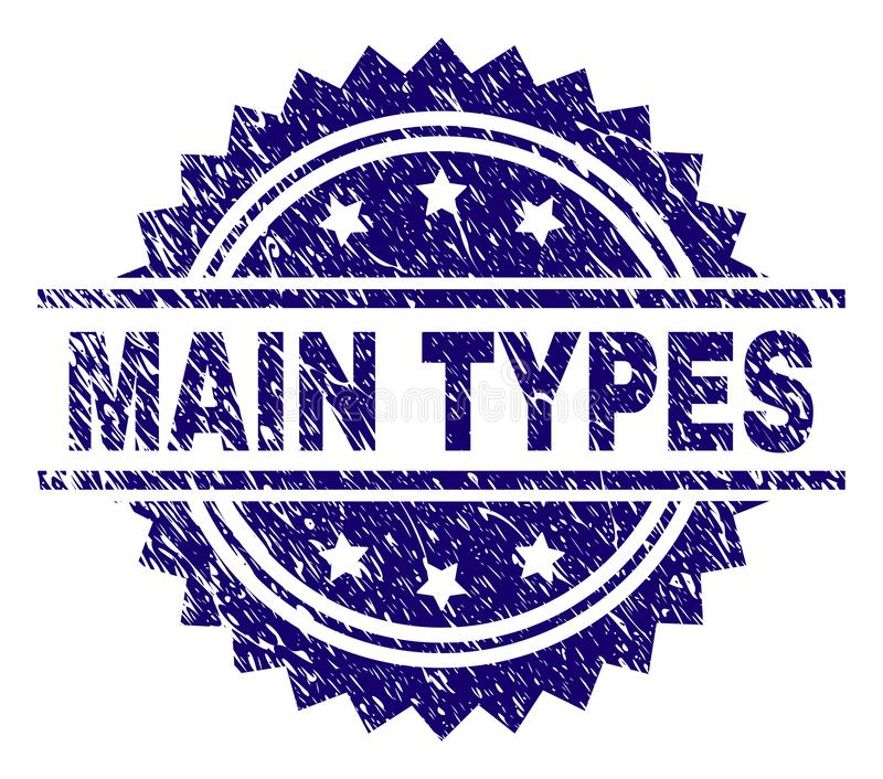 Scratched Textured MAIN TYPES Stamp Seal. MAIN TYPES stamp seal watermark with distress style. Blue vector rubber print of MAIN TYPES text with dirty texture vector illustration