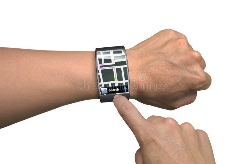 Main utilisant la montre intelligente avec le guide de carte image stock