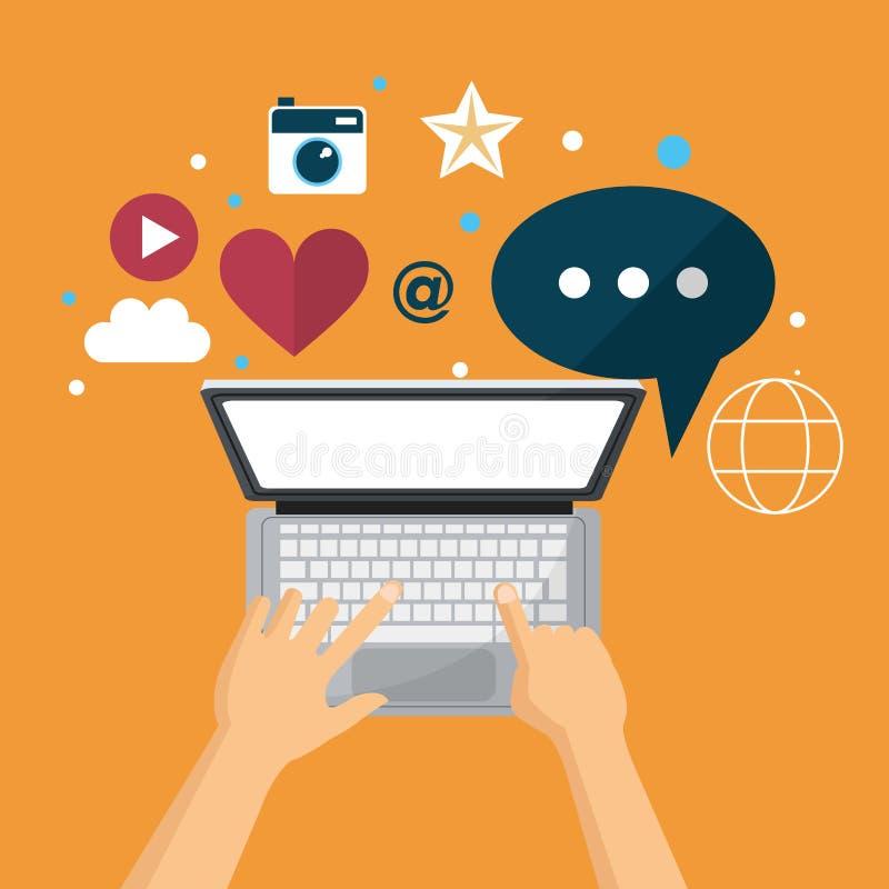 Main utilisant le réseau social de media d'ordinateur portable illustration de vecteur
