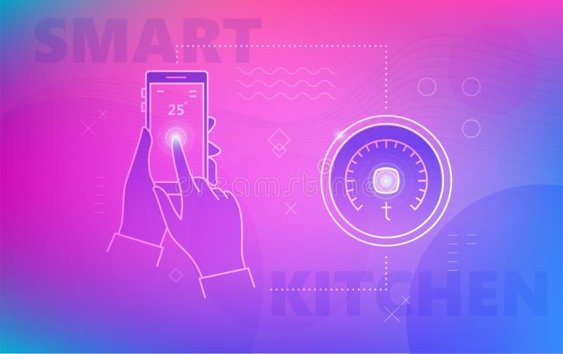 Main utilisant le smartphone pour le thermostat illustration libre de droits