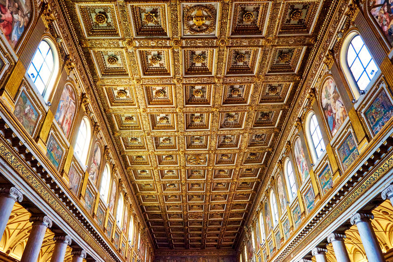 The main vault of the church Santa Maria Maggiore is completely studded with pure gold royalty free stock photo