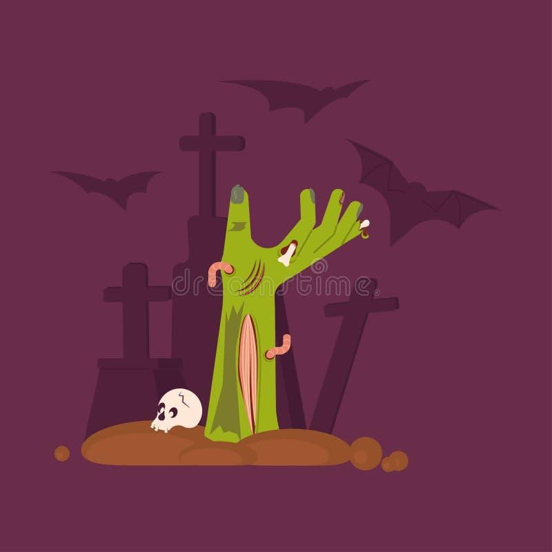 Main verte de zombi se levant hors d'une tombe effrayante illustration stock