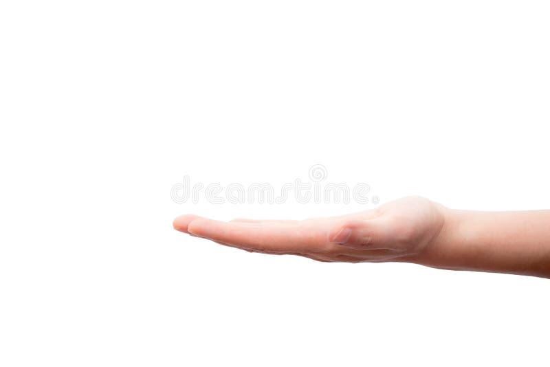 Main vide tenant quelque chose comme le produit actuel d'isolement sur le fond blanc images stock