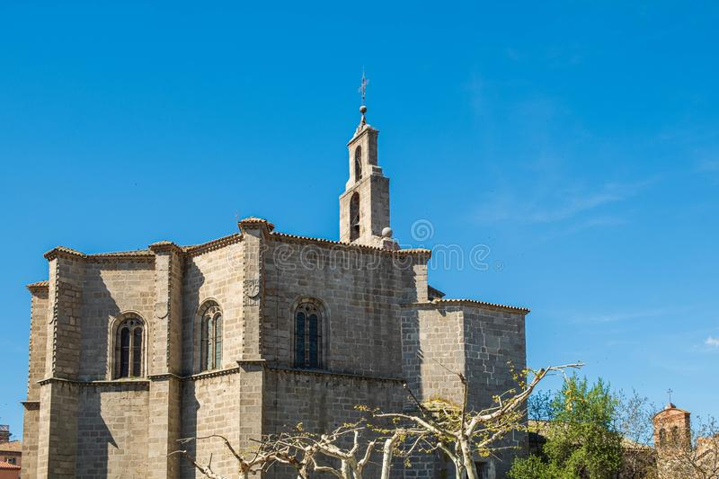 Main view of church in Avila, Spain. With blue sky Mosen Rubi chapel stock image