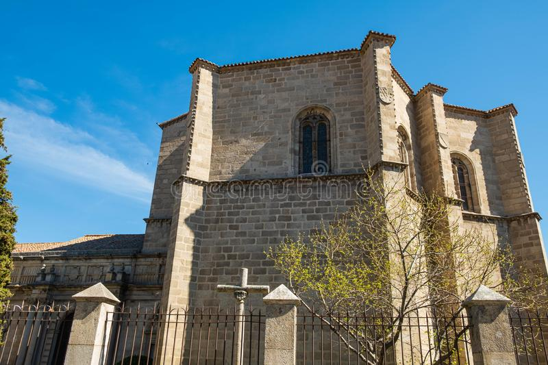 Main view of church in Avila, Spain. With blue sky Mosen Rubi chapel royalty free stock photo