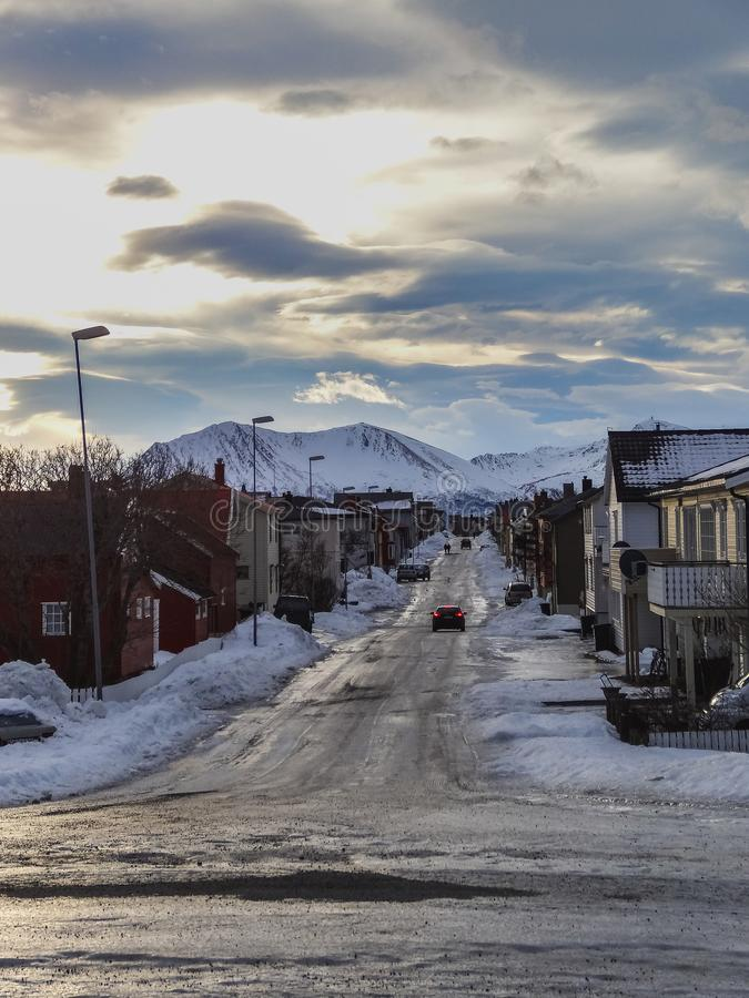 Main village of andenes in the north of vesteralen royalty free stock images