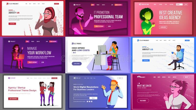 Main Web Page Design Vector. Website Business Screen. Landing Template. Innovation Idea. Office Investment Webpage. Main Web Page Set Design Vector. Website stock illustration