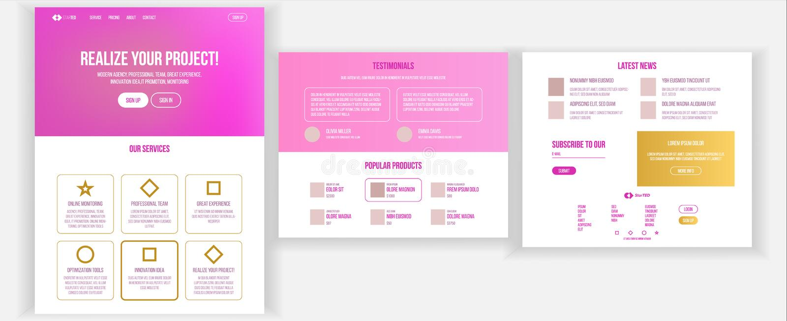 Main Web Page Design Vector. Website Business Reality. Landing Template. Creative Project. Information Tools. Partner. Main Web Page Design Vector. Website vector illustration