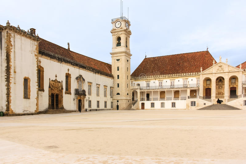 Main yard at the University. Coimbra . Portugal. The clock tower at the University. Coimbra . Portugal royalty free stock images
