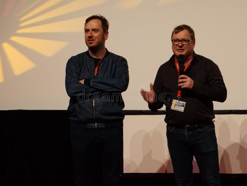 Mainactorregen Tolk l en Directeur Andres Maimik r in Internationales Filmfestival Mannheim-Heidelberg 2017 royalty-vrije stock afbeeldingen