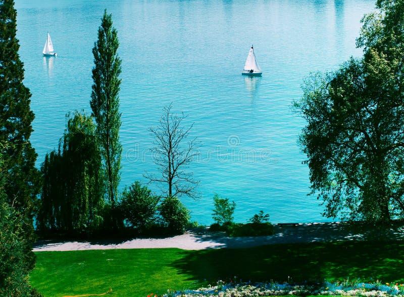 Mainau在湖Bodensee,德国的海岛风船 库存图片